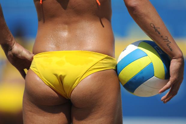 Larissa Franca of Brazil holds the ball
